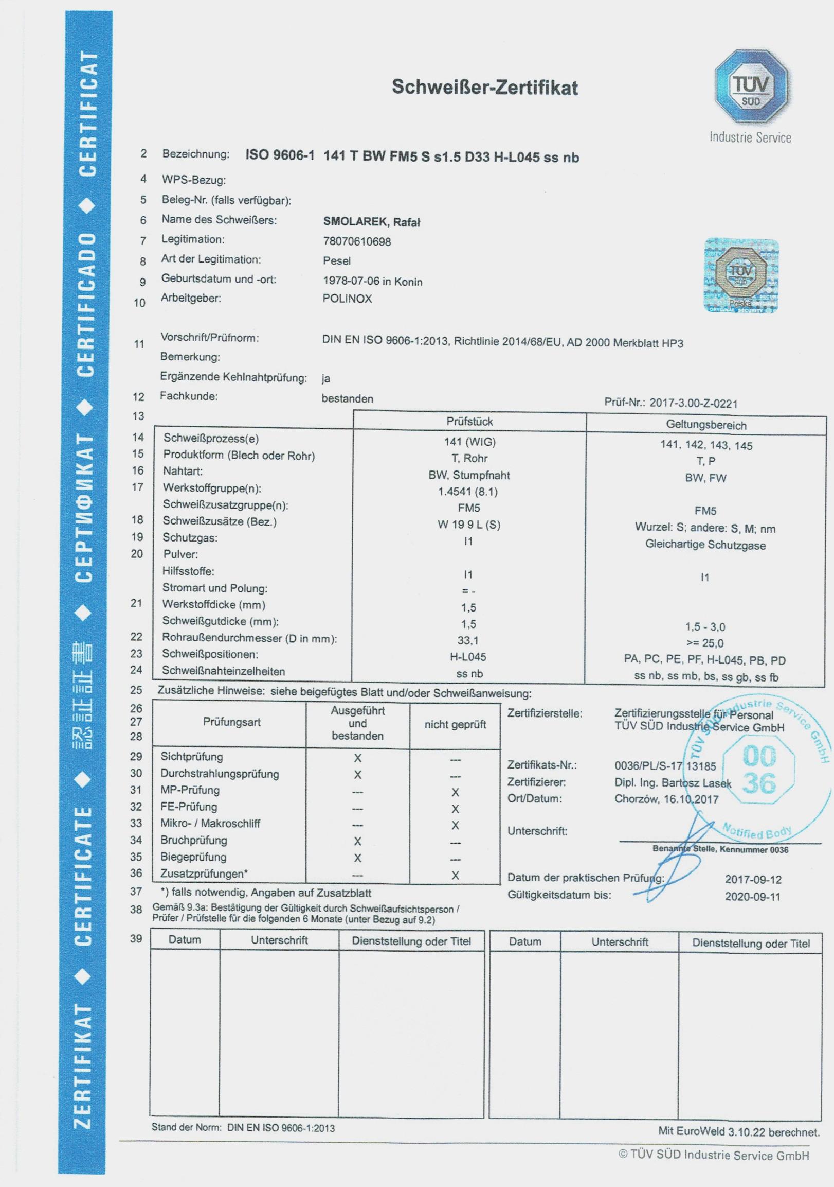 Schweißer Zertifikat